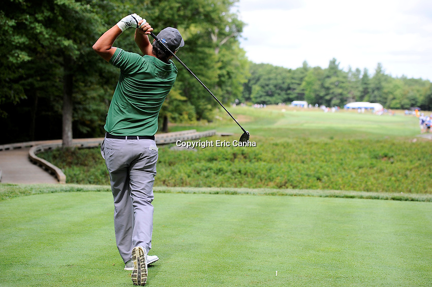Saturday, September 3, 2016:  Freddie Jacobson of Sweden watches the flight of his ball from the 9th tee box during the second round of the Deutsche Bank Championship tournament held at the Tournament Players Club, in Norton, Massachusetts.  Eric Canha/Cal Sport Media