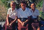Teenage school girls, Cayman Brac, Cayman Islands,