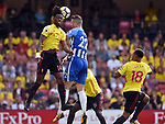 Nathaniel Chalobah of Watford Shane Duffy of Brighton & Hove Albionis challenged by during the premier league match at the Vicarage Road Stadium, Watford. Picture date 26th August 2017. Picture credit should read: Robin Parker/Sportimage