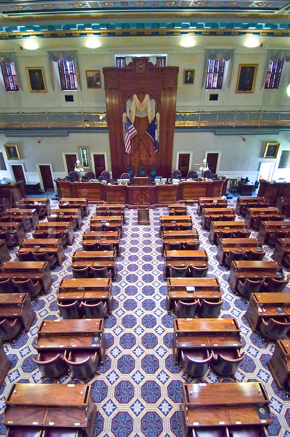 View from the balcony overlooking the House Chamber of the South Carolina State Capitol building.