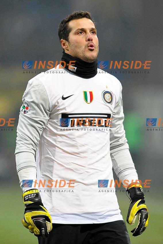 JULIO CESAR Inter<br /> Milano 24/1/2010 Stadio &quot;Giuseppe Meazza&quot;<br /> Inter Milan 2-0<br /> Derby<br /> Campionato Italiano Calcio Serie A 2009/2010<br /> Foto Andrea Staccioli Insidefoto