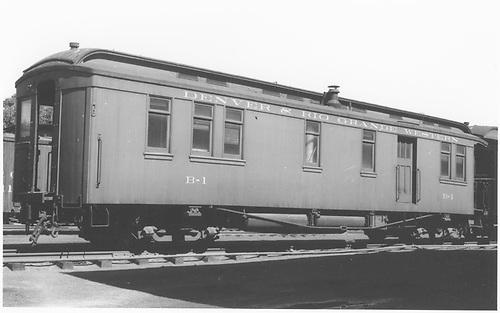 Business car B-1 (2nd) at Alamosa, CO.<br /> D&amp;RGW  Alamosa, CO  Taken by Ward, Bert H. - 7/10/1946