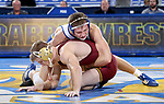 BROOKINGS, SD - NOVEMBER 17: Zach Carlson from South Dakota State controls Nick Wanzek from the University of Minnesota during their 165 pound match Friday evening at First Arena in Brookings, SD.  (Photo by Dave Eggen/Inertia)