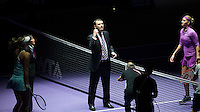 PHILIP BROOKE, Chairman of the AELTC performs the coin toss<br /> <br /> WTA FINALS, SINGAPORE INDOOR STADIUM, SINGAPORE SPORTS HUB, SINGAPORE, 2015