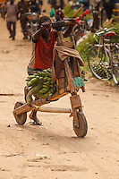 Africa, Uganda , Queen Elisabeth park, KIHI, boy carry banana by local chariot