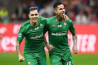 Erick Pulgar of Fiorentina (R) celebrates after scoring the goal of 0-1 for his side <br /> Milano 29/09/2019 Stadio Giuseppe Meazza <br /> Football Serie A 2019/2020 <br /> AC Milan - ACF Fiorentina   <br /> Photo Image Sport / Insidefoto