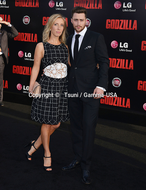 Aaron Taylor-johnson, Wife Sam Taylor-johnson  at the Godzilla Premiere at the Dolby Theatre in Los Angeles.
