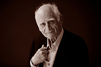 "Michel Serres (born 1 September 1930) is a French philosopher and author. The son of a barge man, Serres entered France's naval academy, the École Navale, in 1949 and the École Normale Supérieure (""rue d'Ulm"") in 1952. He aggregated in 1955, having studied philosophy. He spent the next few years as a naval officer before finally receiving his doctorate in 1968, and began teaching in Paris. Torino Salone del Libro 2016. © Leonardo Cendamo"