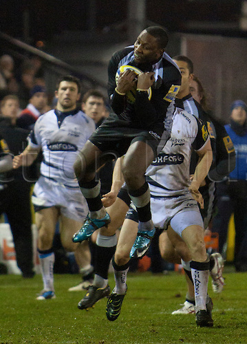 07.01.2011 Aviva Premiership Rugby from Kingston Park. Newcastle Falcons v Sale Sharks..Falcons Gcobani Bobo  (13) claims a high ball
