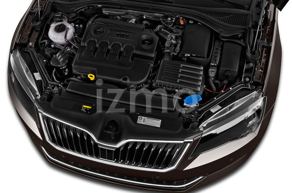 Car Stock 2016 Skoda Superb Ambition 5 Door Hatchback Engine high angle detail view