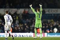 Leeds United's Bailey Peacock-Farrell acknowledges the crowd as he celebrates victory at the final whistle<br /> <br /> Photographer Rich Linley/CameraSport<br /> <br /> The EFL Sky Bet Championship - Leeds United v Reading - Tuesday 27th November 2018 - Elland Road - Leeds<br /> <br /> World Copyright © 2018 CameraSport. All rights reserved. 43 Linden Ave. Countesthorpe. Leicester. England. LE8 5PG - Tel: +44 (0) 116 277 4147 - admin@camerasport.com - www.camerasport.com