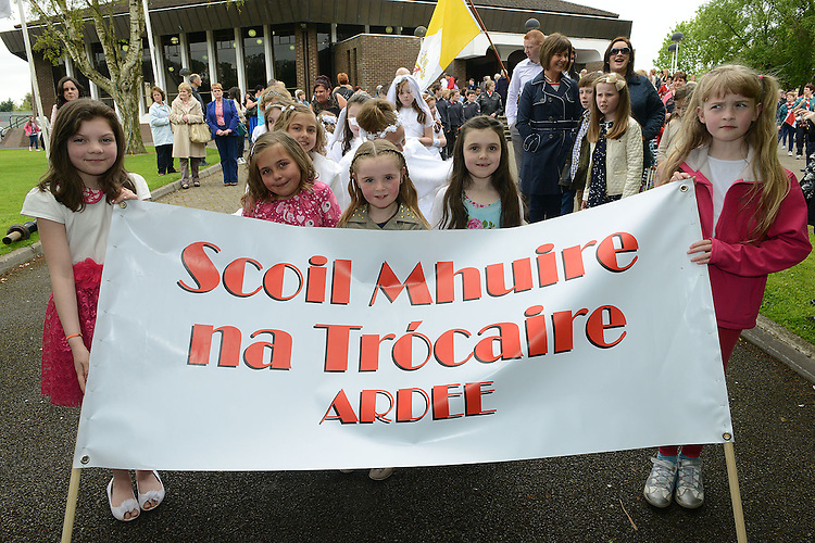 Amy Giggins, Andrea Korona, Caoimhe O'Callaghan, Faye Gillispie and Ellen O'Brien who took part in the May procession in Ardee. Photo:Colin Bell/pressphotos.ie