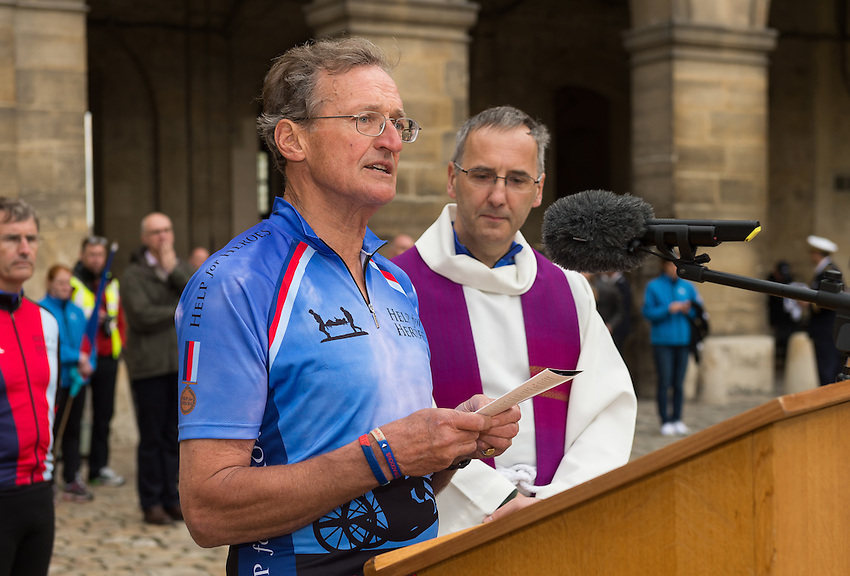 Geoffrey Burnand reads the lesson at Les Invalides, Paris, accompanied by father Roger Dawson and Help for Heroes (H4H) co-founder Bryn Parry at the start of the charity Help for Heroes six day Big Battlefields Bike Ride from Paris to London. The bike ride was launched by the Duchess of Cornwall and, during the first day, following the start at Les Invalides, the cyclists passsed through Nery, and ended at Compiegne, with a wreath laying ceremony in the Forest of Compiegne where the First World War Armistice was signed. Tuesday 28th May 2013.