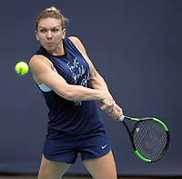 MIAMI GARDENS, FL - MARCH 18: Simona Halep on the practice court prior to the start of the Miami Open Tennis Tournament at Hard Rock Stadium on March 18, 2019 in Miami Gardens, Florida.<br /> <br /> People: Simona Halep