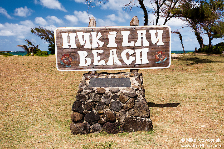 Hukilau Beach sign, Laie, Oahu, Hawaii