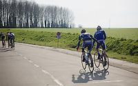solidarity in the breakaway: Kevin Van Melsen (BEL/Wanty-Groupe Gobert) helping 'a hand' while  Maxime Farazijn (BEL/TopsportVlaanderen-Baloise) <br /> <br /> 71st Omloop Het Nieuwsblad 2016