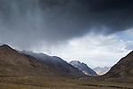 Rain falling over mountains, Ak-Shyirak Range, Sarychat-Ertash Strict Nature Reserve, Tien Shan Mountains, eastern Kyrgyzstan