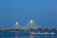 63895-15419 Clark Bridge at night over Mississippi River Alton, IL