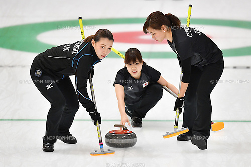 (L-R) Mari Motohashi, Yurika Yoshida, Chinami Yoshida (JPN), <br /> FEBRUARY 20, 2017 -Curling : <br /> Women's Round Robin match between<br /> Japan 5-7 Korea <br /> during the 2017 Sapporo Asian Winter Games <br /> at Sapporo Curling Stadium in Hokkaido, Japan. <br /> (Photo by AFLO SPORT)