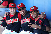 Batavia Muckdogs (L-R) Joey Bergman, Jon Rodriguez, and Yunier Castillo before a game vs. the State College Spikes at Dwyer Stadium in Batavia, New York August 29, 2010.   Batavia defeated State College 6-4.  Photo By Mike Janes/Four Seam Images