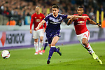 Manchester United's Antonio Valencia and Anderlecht's Leander Dendoncker during the Europa League Quarter Final 1st leg match at RSCA Constant Vanden Stock Stadium, Anderlecht, Belgium. Picture date: April 13th, 2017.Pic credit should read: Charlie Forgham-Bailey/Sportimage