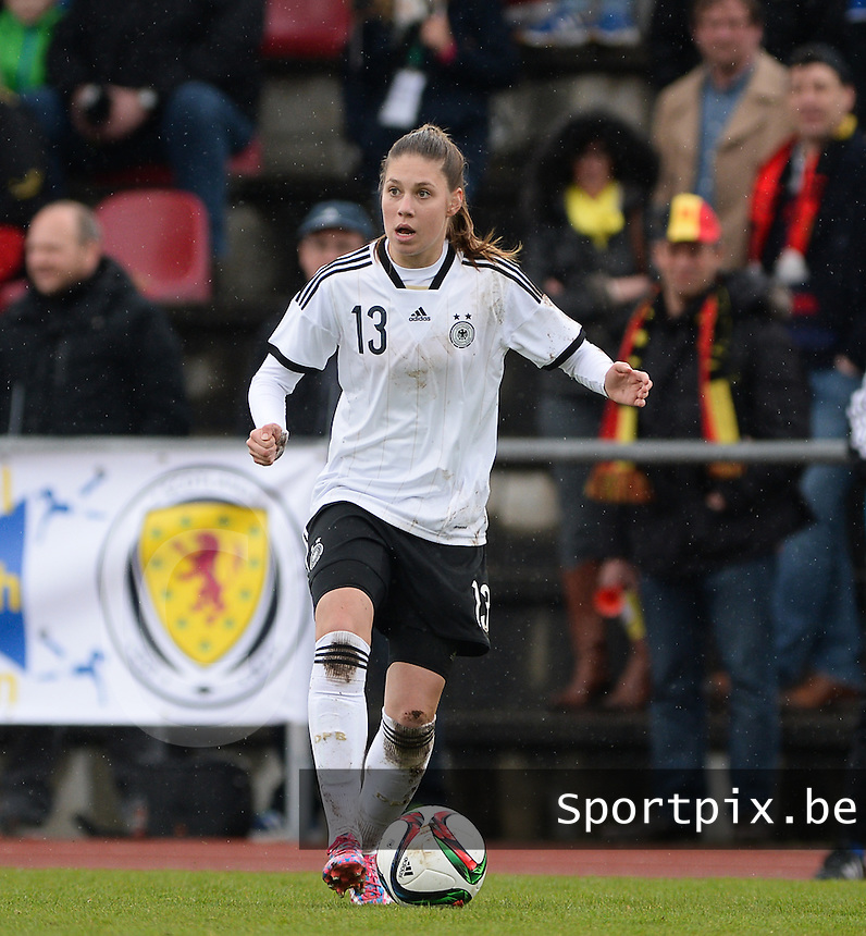 20150404 - FORST , GERMANY  : German Isabella Hartig pictured during the soccer match between Women Under 19 teams of Germany and Scotland , on the first matchday in group 5 of the UEFA Elite Round Women Under 19 at WaldseeStadion , Forst , Germany . Saturday 4th April 2015 . PHOTO DAVID CATRY
