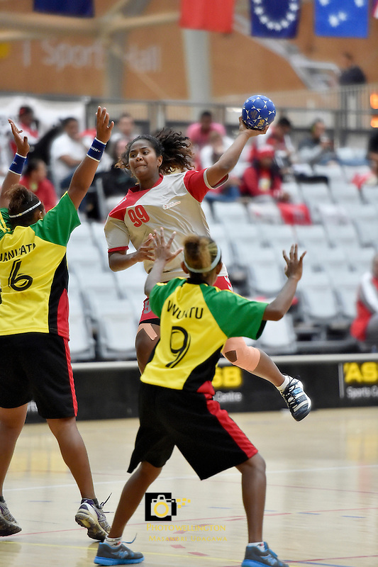 Action from the IHF Trophy Tournament Oceania at ASB Sports Centre, Kilbirnie, Wellington, New Zealand on Saturday 13 December 2014. <br /> Photo by Masanori Udagawa. <br /> www.photowellington.photoshelter.com.