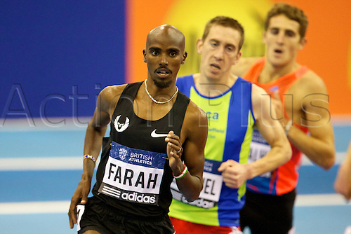 16.02.2013 Birmingham, England. Mo Farah in action during the British Athletics Grand Prix from the National Indoor Arena.