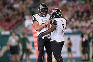Tampa, FL - September 4th, 2016: Towson Tigers running back Darius Victor (7) and Towson Tigers wide receiver Christian Summers (25) celebrate after Victor's second touchdown of the game against USF at Raymond James Stadium in Tampa, FL. (Photo by Phil Peters/Media Images International)