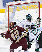 Chris Collins, Jordan Parise, Brian Lee - The Boston College Eagles defeated the University of North Dakota Fighting Sioux 6-5 on Thursday, April 6, 2006, in the 2006 Frozen Four afternoon Semi-Final at the Bradley Center in Milwaukee, Wisconsin.
