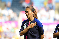 25.07.2012 Coventry, England.  Nahomi KAWASUMI (Japan) during national anthem at the Olympic Football Women's Preliminary game between Japan and Canada from the City of Coventry Stadium