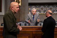 United States Senator Jack Reed (Democrat of Rhode Island) speaks to Chief of Naval Operations Admiral Michael Gilday prior to his testimony before the United States Senate Committee on Armed Services at the U.S. Capitol in Washington D.C., U.S., on Tuesday, December 3, 2019.  The panel discussed reports of substandard housing conditions for U.S. service members. <br /> <br /> Credit: Stefani Reynolds / CNP /MediaPunch