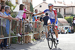 Steve Morabito (SUI) Groupama-FDJ arrives at sign on before Stage 6 of La Vuelta 2019 running 198.9km from Mora de Rubielos to Ares del Maestrat, Spain. 29th August 2019.<br /> Picture: Luis Angel Gomez/Photogomezsport | Cyclefile<br /> <br /> All photos usage must carry mandatory copyright credit (© Cyclefile | Luis Angel Gomez/Photogomezsport)