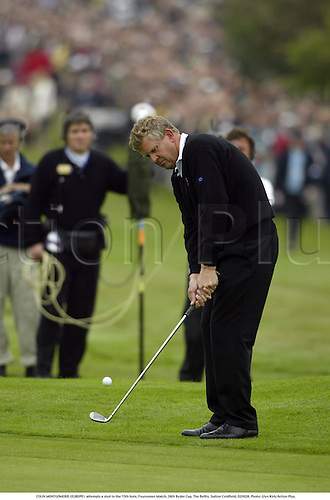 COLIN MONTGOMERIE (EUROPE)  attempts a shot to the 15th hole, Foursomes Match, 34th Ryder Cup, The Belfry, Sutton Coldfield, 020928. Photo: Glyn Kirk/Action Plus....2002.golf golfer player...... .....