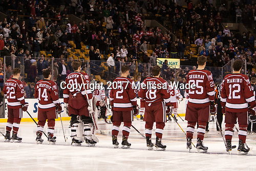 - The Harvard University Crimson defeated the Boston University Terriers 6-3 (EN) to win the 2017 Beanpot on Monday, February 13, 2017, at TD Garden in Boston, Massachusetts.