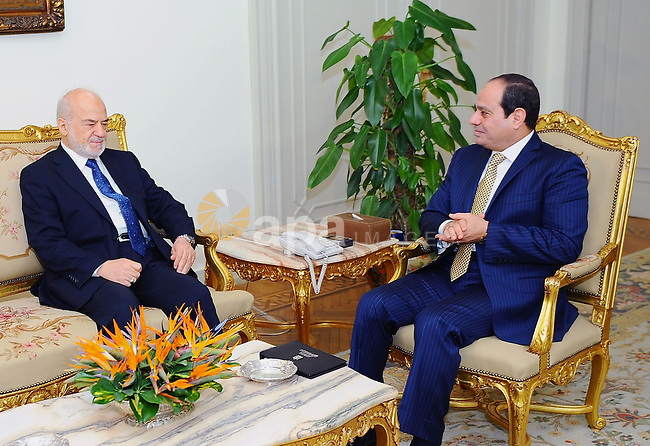Egyptian President Abdel Fattah al-Sisi meets with Iraqi Foreign Minister Ibrahim al-Jaafari, in Cairo, Egypt, on December 21, 2016. Photo by Egyptian President Office