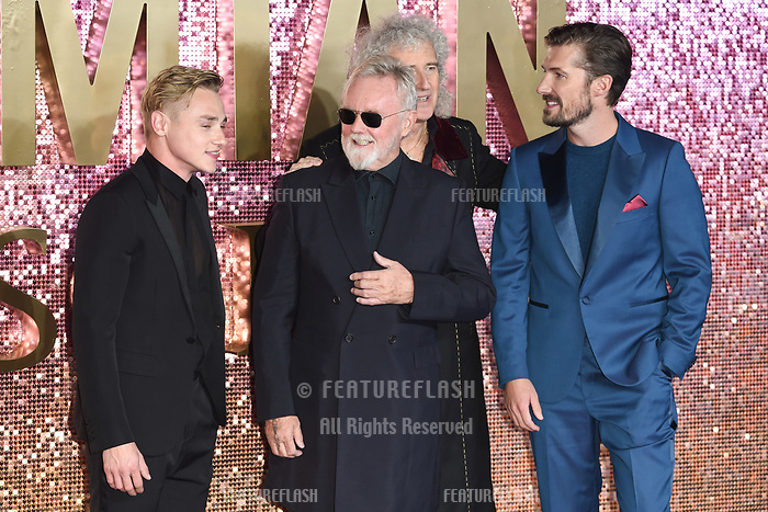 LONDON, UK. October 23, 2018: Ben Hardy, Roger Taylor, Brian May &amp; Gwilyn Lee at the world premiere of &quot;Bohemian Rhapsody&quot; at Wembley Arena, London.<br /> Picture: Steve Vas/Featureflash