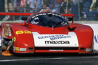 Jim Downing drives an ARGO JM19 Mazda during the 1986 IMSA GTP race in Columbus, Ohio.