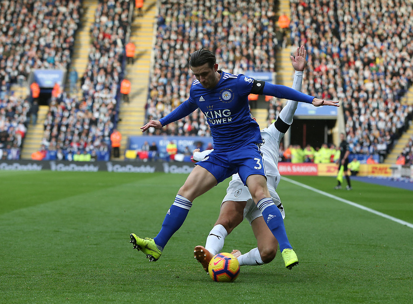 Leicester City's Ben Chilwell is tackled by Burnley's Matthew Lowton<br /> <br /> Photographer Stephen White/CameraSport<br /> <br /> The Premier League - Saturday 10th November 2018 - Leicester City v Burnley - King Power Stadium - Leicester<br /> <br /> World Copyright © 2018 CameraSport. All rights reserved. 43 Linden Ave. Countesthorpe. Leicester. England. LE8 5PG - Tel: +44 (0) 116 277 4147 - admin@camerasport.com - www.camerasport.com