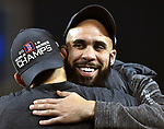 LOS ANGELES, CA - OCTOBER 28: David Price #24 of the Boston Red Sox celebrate the Boston Red Sox's World Series win over the Los Angeles Dodgers at Dodger Stadium in Los Angeles, California on October 28, 2018. (Staff photo by Christopher Evans)