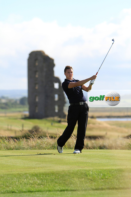 Dean MacMahon (Castletroy) on the 13th tee during the South of Ireland Amateur Open Championship Second Round at Lehinch Golf Club  28th July 2013 <br /> Picture:  Thos Caffrey / www.golffile.ie