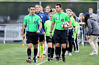 Piscataway, NJ - Sunday April 30, 2017: referees and F.C. Kansas City starters during a regular season National Women's Soccer League (NWSL) match between Sky Blue FC and FC Kansas City at Yurcak Field.