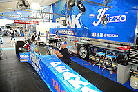 Sept. 30, 2012; Madison, IL, USA: NHRA top fuel dragster driver T.J. Zizzo during the Midwest Nationals at Gateway Motorsports Park. Mandatory Credit: Mark J. Rebilas-