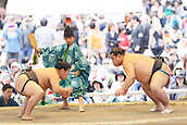 April 17th 2017; Sumo : Yasukuni Shrine Honozumo is a ceremonial annual sumo tournament held in the precincts of the Yasukuni Shrine in Tokyo, Japan.