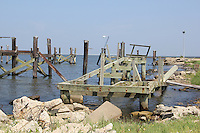 The Katrina damaged fishing pier at West End. Eligible for FEMA funds, even this small infrastructure still lies in a state of disrepair.