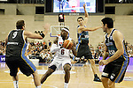 USA's LeBron James (c) and Argentina's Juan Gutierrez (l), Pablo Prigioni (b) and Carlos Delfino (r) during friendly match.July 22,2012. (ALTERPHOTOS/Acero)