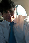 Beleaguered Illinois Governor Rod Blagojevich in the state airplane at the start of his day's journey by air to speak in his own defense at his impeachment hearing at the state capitol in Springfield, Illinois at O'Hare International Airport in Chicago, Illinois on January 29, 2009.