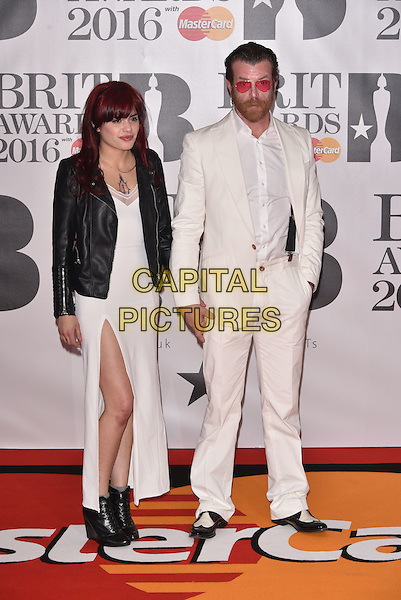 LONDON, ENGLAND - FEBRUARY 24: Jesse Hughes &amp; Tuesday Cross (Eagles of Death Metal) attends the BRIT Awards 2016 at The O2 Arena on February 24, 2016 in London, England<br /> CAP/PL<br /> &copy;Phil Loftus/Capital Pictures