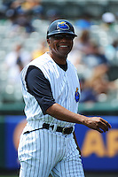 Trenton Thunder manager Tony Franklin (18) during game against the Richmond Flying Squirrels at ARM & HAMMER Park on June 9 2013 in Trenton, NJ.  Trenton defeated Richmond 3-2.  Tomasso DeRosa/Four Seam Images