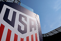 Harrison, NJ - Thursday Aug. 31, 2017: US Soccer logo during a training day prior to a FIFA World Cup Qualifier between the United States (USA) and Costa Rica (CRC) at Red Bull Arena.